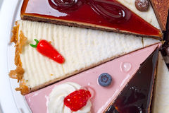 Pedazo de primer de la opinión superior de la torta Imagen de archivo