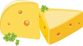 Pedazo de queso con perejil Imagen de archivo