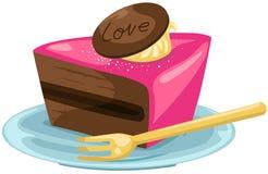 Pedazo de torta con la fork en blanco ilustración del vector