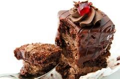 Pedazo de torta de chocolate Fotos de archivo