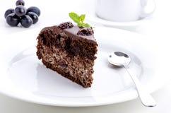 Pedazo de torta de chocolate con las cerezas Imagen de archivo libre de regalías