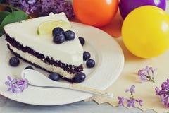 Pedazo de torta de cumpleaños Imágenes de archivo libres de regalías