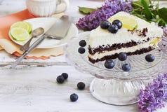 Pedazo de torta de cumpleaños Imagenes de archivo
