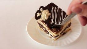 Pedazo de torta de la galleta del chocolate comida con la bifurcación metrajes