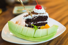 Pedazo de torta del bosque negro Imagen de archivo libre de regalías