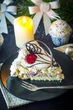 Pedazo de torta en el Año Nuevo Imagen de archivo