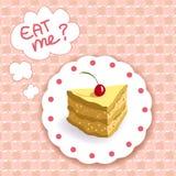 Pedazo de torta en un fondo de la tela escocesa Foto de archivo libre de regalías