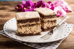 Pedazo de torta de nuez-caf? fotografía de archivo libre de regalías