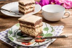 Pedazo de torta de nuez-caf? imágenes de archivo libres de regalías