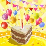Pedazo de torta y de una atmósfera del partido Imágenes de archivo libres de regalías