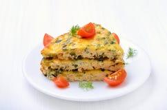 Pedazo de tortilla vegetal Imagenes de archivo