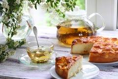 Pedazo de una empanada con un relleno de los albaricoques y del té en el ¾ Ð del ¿Ñ€Ð de з Imagen de archivo