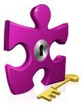 Pedazo del bloqueo y de los rompecabezas del clave Imagen de archivo