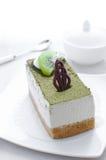 Pedazo del postre de la torta del té verde Fotografía de archivo