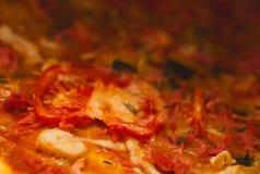 Pedazo del primer de pizza del tomate Foto de archivo libre de regalías