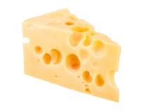 Pedazo del queso aislado en el fondo blanco Imágenes de archivo libres de regalías