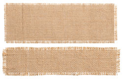 Pedazo del remiendo de la tela de la arpillera, paño de saco rústico de la arpillera aislado fotos de archivo libres de regalías