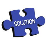 Pedazo del rompecabezas de 3D de la ?solución? Foto de archivo