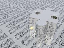Pedazo del rompecabezas y notación de música libre illustration