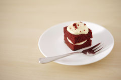Pedazo delicado de pequeña torta de chocolate con la profundidad del campo baja Imágenes de archivo libres de regalías