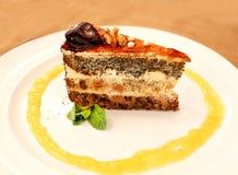 Pedazo dulce sabroso de la foto de torta Foto de archivo libre de regalías