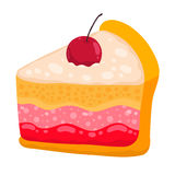 Pedazo lindo de la torta del vector de la historieta Fotos de archivo libres de regalías