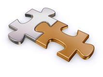 Pedazo metálico del rompecabezas Imagen de archivo libre de regalías