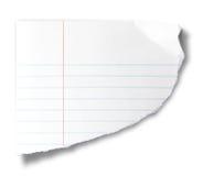 Pedazo rasgado de papel del cuaderno Imagen de archivo