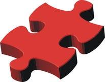 pedazo rojo del rompecabezas 3d Fotografía de archivo libre de regalías