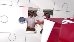 Pedazo rojo que desbloquea dominante de rompecabezas que muestra al personal stock de ilustración
