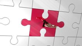 Pedazo rojo que desbloquea dominante de rompecabezas que muestra la dirección ilustración del vector