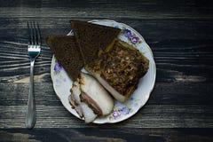 Pedazo salado de manteca de cerdo fotografía de archivo libre de regalías