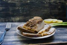 Pedazo salado de manteca de cerdo fotografía de archivo