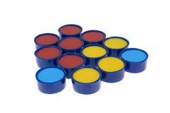 Pedazos circulares del rojo, amarillos y azules Foto de archivo