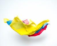 Pedazos coloridos abstractos de vuelo de la tela Fotos de archivo