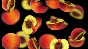 Pedazos cortados de melocotón que caen en el fondo negro, ejemplo 3d Imagen de archivo libre de regalías