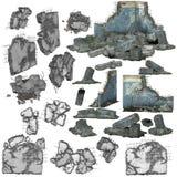 pedazos 3D de ruina o de escombros stock de ilustración
