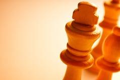 Pedazos de ajedrez blancos de madera macros Fotos de archivo
