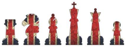Pedazos de ajedrez con la bandera de Gran Bretaña Foto de archivo libre de regalías