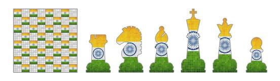 Pedazos de ajedrez con la bandera de la India Imagen de archivo