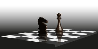 Pedazos de ajedrez en el tablero de ajedrez libre illustration