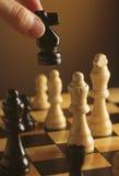Pedazos de ajedrez en tarjeta de ajedrez Fotos de archivo libres de regalías