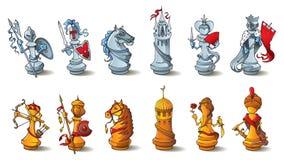 Pedazos de ajedrez fijados Fotografía de archivo