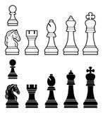 Pedazos de ajedrez fijados Foto de archivo