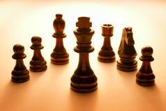 Pedazos de ajedrez negros de madera fijados Imágenes de archivo libres de regalías