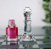 Pedazos de ajedrez - reina y rey Fotografía de archivo