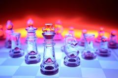 Pedazos de ajedrez transparentes Imagen de archivo libre de regalías