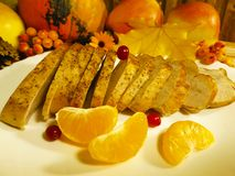 Pedazos de arce del día de la acción de gracias orgánico, aún vida, plato, menú, mandrágora de Turquía, Imagen de archivo