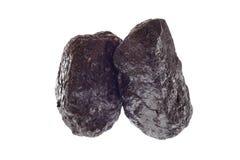 Pedazos de carbón aislados en blanco Fotografía de archivo
