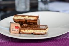 Pedazos de chocolate Imágenes de archivo libres de regalías